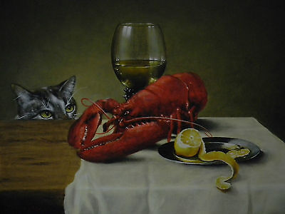 Fine Original Terence Vickress Painting Of A Cat Lobster Dutch Still Life