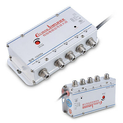 4CH CATV 4-Way Output CATV Amplifier 20DB Cable TV Signal AMP Booster Splitter