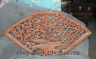 """36"""" Old Chinese Style Eagle Fan Shape Wood Carving Hang Window Screen Board"""