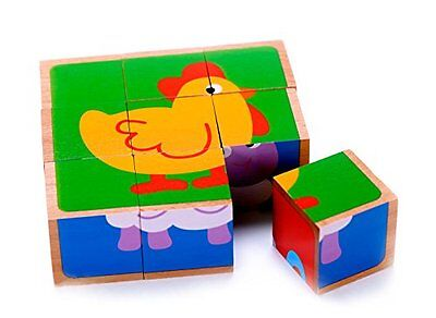 Wooden Farm Animal Cube Block Puzzle for Kids | 5 Puzzles in One | Educational