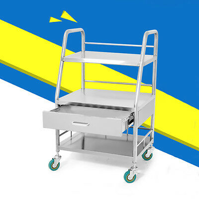 New Stainless Three Layers Drawer Medical Serving Dental Lab Cart Trolley C37LJ