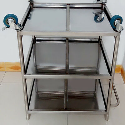 Stainless Steel C37LJ Three Layers Serving Medical Dental Lab Cart Trolley New