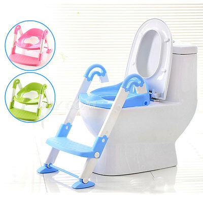 Baby Toddler Potty Training Toilet Ladder Seat Step Space Saving Kids Children