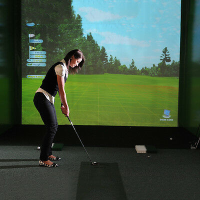 New Indoor White Screen 9.8'x3.3' Golf Simulator Projection Hitting Impact C37LJ