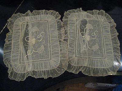 Matched Pair Antique French Tambour Lace Pillow Cases Mint