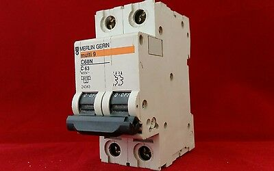 Merlin Gerin 24343 C60N 63A 63Amp C Type C63 Double Pole Dp 2P Mcb Fuse Switch