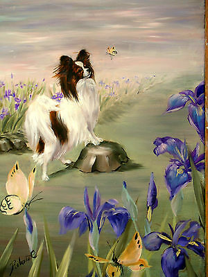Papillon and irises limited edition print dog art print
