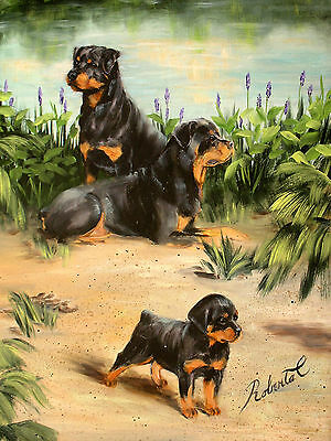 Rottweiler family dog art print