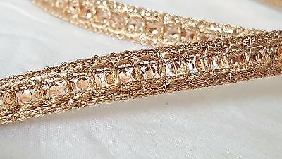 1.1cm- 2 meter Beautiful rose gold sequins lace trimming ribbon for crafts