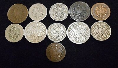 +++ FOREIGN COIN VERY OLD 1800s GERMAN 11 COIN LOT+++