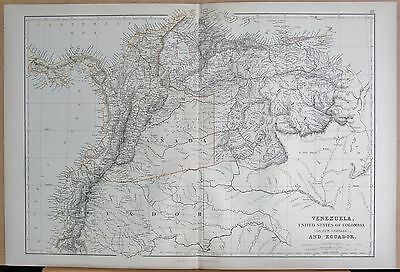 1882 Large Antique Map - Venezuela Colombia & Ecuador