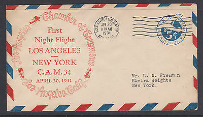 Flight Cover:  1931 First Night Flight Los Angeles To New York C.a.m.34
