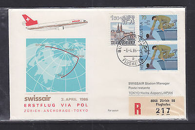 Flight Cover:  1986 Swissair Flight Cover To Japan.