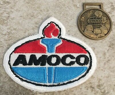 Lot Of 2 Vintage AMOCO Advertising Gas Oil Service Station Uniform Patch & Metal
