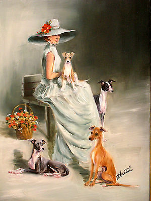 Italian Greyhounds with lady art original oil painting on canvas by Roberta C