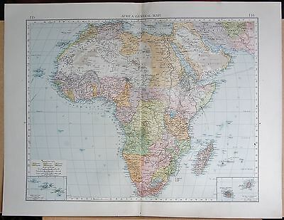"""1900 """"times""""  Large Antique Map - Africa General Map"""