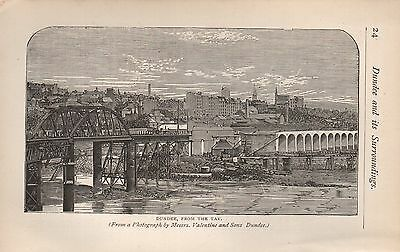 1890 Antique Print Scotland Dundee From The Tay