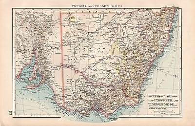 """1900 """"times""""  Large Antique Map - Australia  Victoria And New South Wales"""