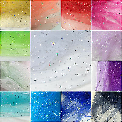 "60"" Hologram Sparkly Glitter Sequin Tulle Tutu Fabric Mesh Wedding Bridal Dress"