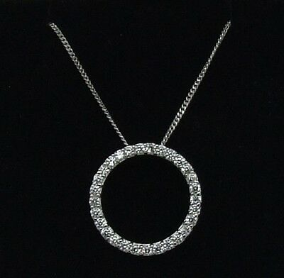 Sterling Silver Circle Of Life Cz Pendant With A 18 Inch Curb Chain-New In Box