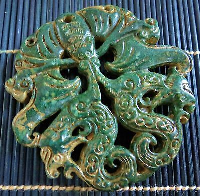 Chinese Carved Jade Bat and Dragon Pendant