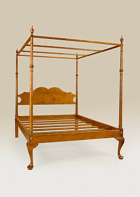 Full Size Poster Canopy Bed Frame Tiger Maple Wood New Home Bedroom Furniture