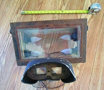 Vintage Homemade Stereoptic Viewer With Box and Lights