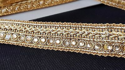 2.2cm- 1 meter Beautiful Gold beaded braid style ribbon lace trim for crafts