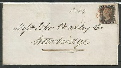 MAY 23rd 1840 PENNY (GH) PLATE 1a  4  MARGINS ON COVER TO STOURBRIDGE C.£2500