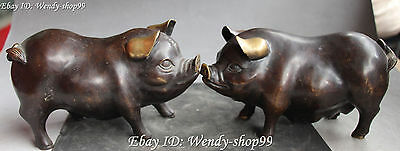 """8"""" Chinese Bronze Fengshui Zodiac Year Cute Lovely Pig Pigs Animal Statue Pair"""