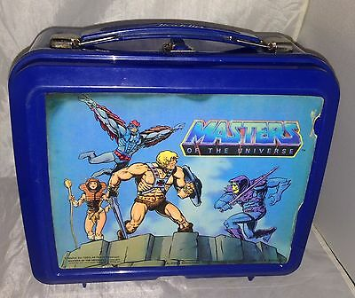 He-Man Masters of the Universe Blue Plastic Lunchbox 1983 Aladdin Mattel