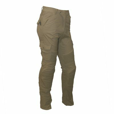 New Men's Tan Cotton Stretch Motorcycle Cargo Pants Reinforced with DuPont? Kevl