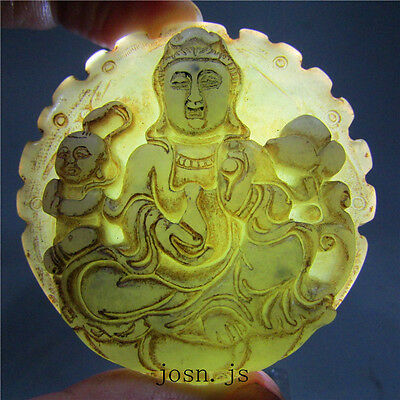 Chinese antique natural old hard jade jadeite hand-carved pendant bodhisattva 2