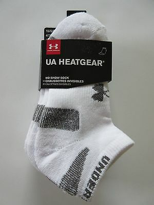 Under Armour Heat Gear Boys No Show White Sock Youth Large (1-4) 4 PAIR - NWT