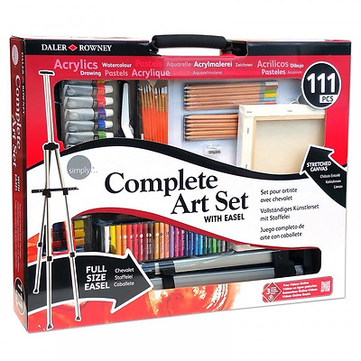 Complete Acrylic Art Kit Easel Drawing Supplies Artist Ideal Set 111 Pieces New