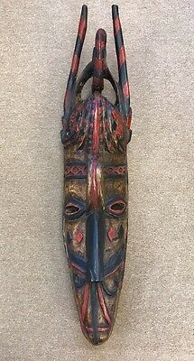 """Rare Antique African Tribal Sculpture Art Figure Hanging Mask Ready to Hang 39"""""""