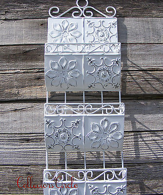 Antique Shabby Style White Metal Wall Letter Mail Holder Organizer Rack
