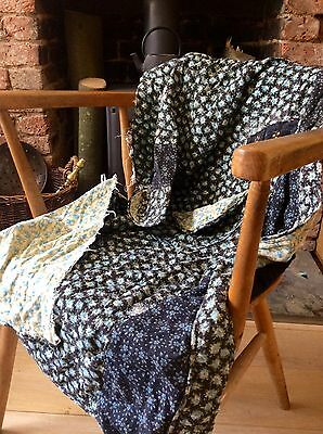 Antique 1930s French Floral Quilted Material Patchwork Project Textile Design
