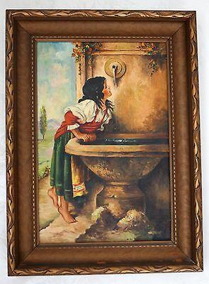 Antique Oil Painting on Canvas with Frame ROMAN GIRL At the FOUNTAIN