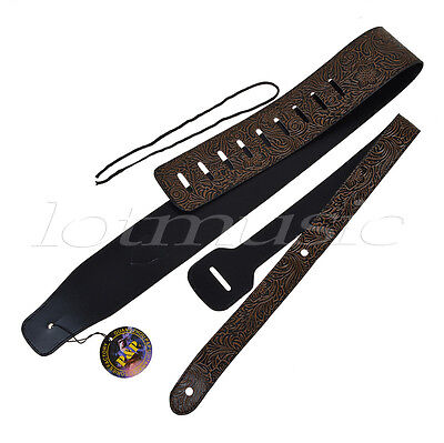 Guitar Strap PU Leather Adjustable for (Electric Acoutic Classic) Guitar Bass
