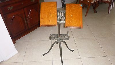 Antique Victorian Cast Iron/Copper/Wood Book,Dictionary,Bible Stand, Fully Adj.