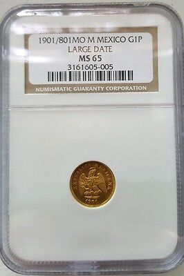 Mexico Second Republic 1901/801 Mo M Large Date Gold 1 Peso NGC MS65