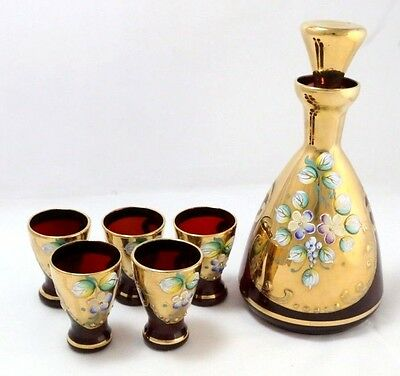 Vintage Ruby Glass with Gold and Hand-Painted Flowers Decanter and Shot Glasses