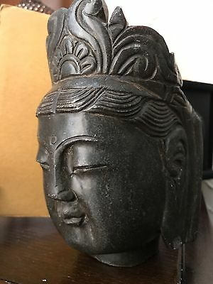 Antique Chinese Carved Stone Quan Yin Buddha Head Hand Carved