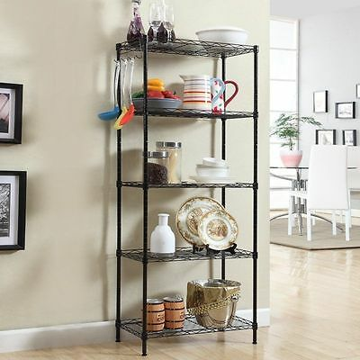"59""X18""X12"" 5 Tier Layer Shelf Adjustable Steel Wire Metal Shelving Rack"