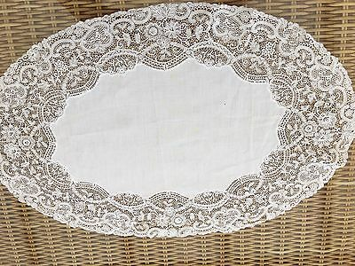 Beautiful Lace And Cotton Vintage  Tray cloth