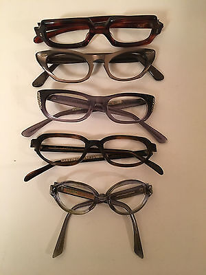 Lot of 5 Vintage Cat Eye Glasses Frames  Romco, Foremost, more FREE SHIPPING D