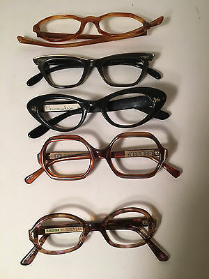 Lot of 5 Vintage Cat Eye Glasses Frames  Romco, MARINE, B&L more FREE SHIPPING E