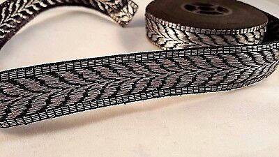 2.3cm- 2 meter Beautiful embroidered black and silver ribbon lace trim for craft