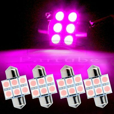 4x 31mm Purple/Pink 6SMD Car LED Interior Map Dome Light Bulb Festoon DE3175 12V